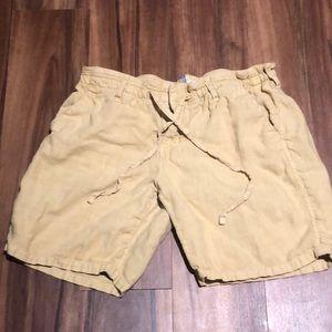 Anthropologie level 99 yellow tie waist shorts